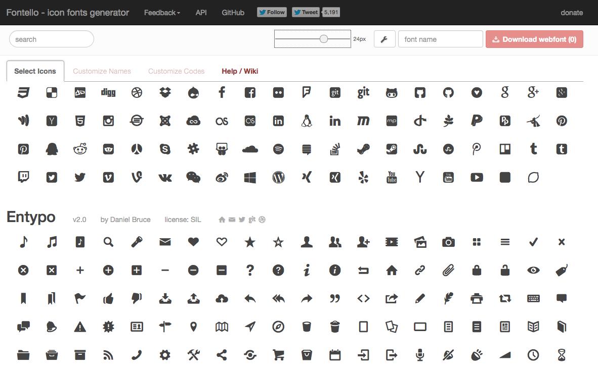 Fontello - font icons